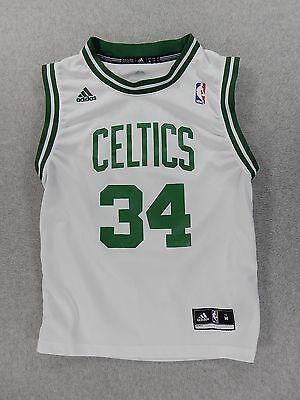 Boston Celtics Adidas Screened Replica Basketball Jersey (#34 Pierce) Yth Medium (34 White Replica Basketball Jersey)