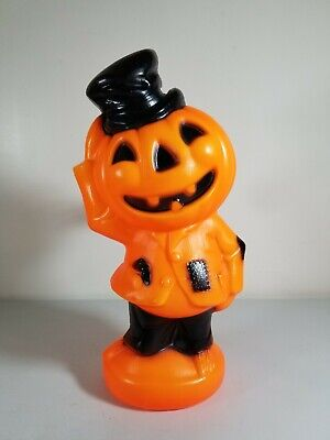 Vintage 1969 Empire Plastic Corp. Blow Mold Lighted Pumpkin Scarecrow Man