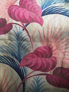 Vtg Puritan Print 40s 50s Tropical Barkcloth Dead Stock Fabric (3yards Approx)