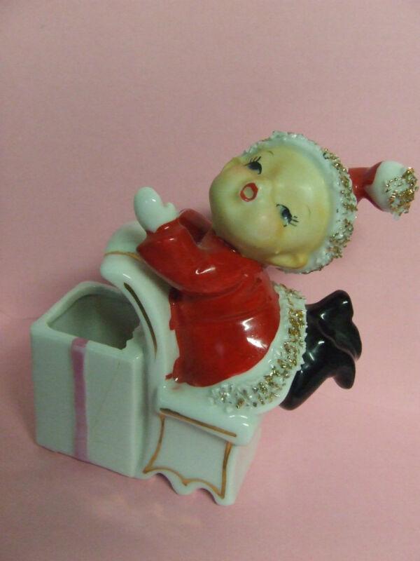 Vintage Ucagco(?) Christmas Santa Elf Boy Trinket Holder/Planter