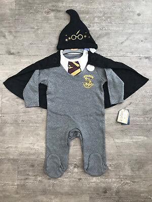 Halloween Baby Sleepsuit (Baby Boy Harry Potter 3 Piece Sleepsuit / All-In-One Hat Cape Primark)