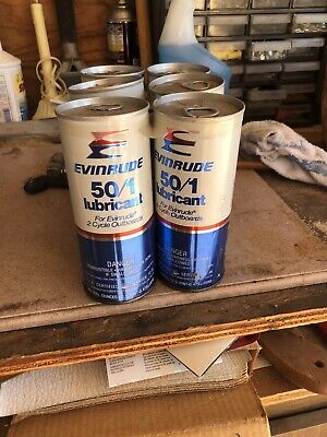 """VINTAGE NOS EVINRUDE 50/1 LUBRICANT 2 CYCLE OUTBOARD"""" 6 PACK"""" MOTOR OIL PULL TAB"""