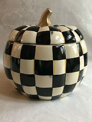 Mackenzie Childs INSPIRED Courtly Check Hand Painted Ceramic Pumpkin COOKIE JAR