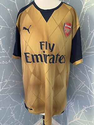 Arsenal  football shirt  Puma away FOOTBALL TOP Gold Top Size Large