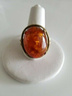 Vintage Baltic Amber Gold-plated Ring Size 8 Amber Gold Plated Ring