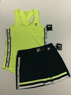 FILA Sport NWT Size XS S M L Women's Tennis Skirt Tank Top Outfit Yellow Navy