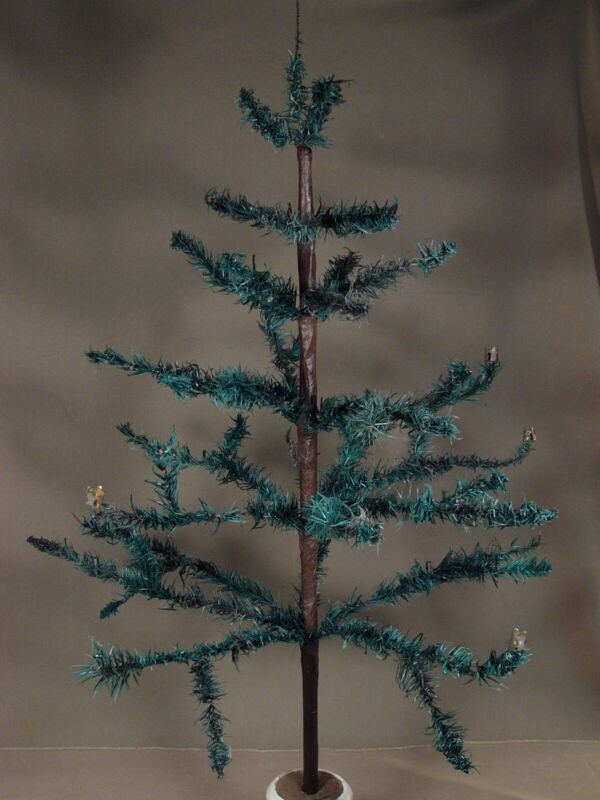 "Antique 32"" Feather Tree Christmas Wooden Base Read Description"