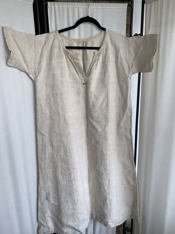 Vintage Antique French Linen Night Gown Monogram Dress