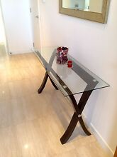 Hall,entry,side table glass top, solid timber/stainless steal bar Brighton Bayside Area Preview
