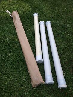 Adjustable camp poles and slide rails spreader  bars.