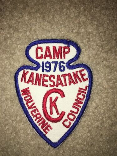 Boy Scout Camp Kanesatake 1976 White Arrowhead Wolverine Council Michigan Patch