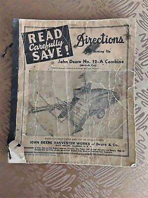 Vintage John Deere No. 12-A Combine Set Up Direction Manual