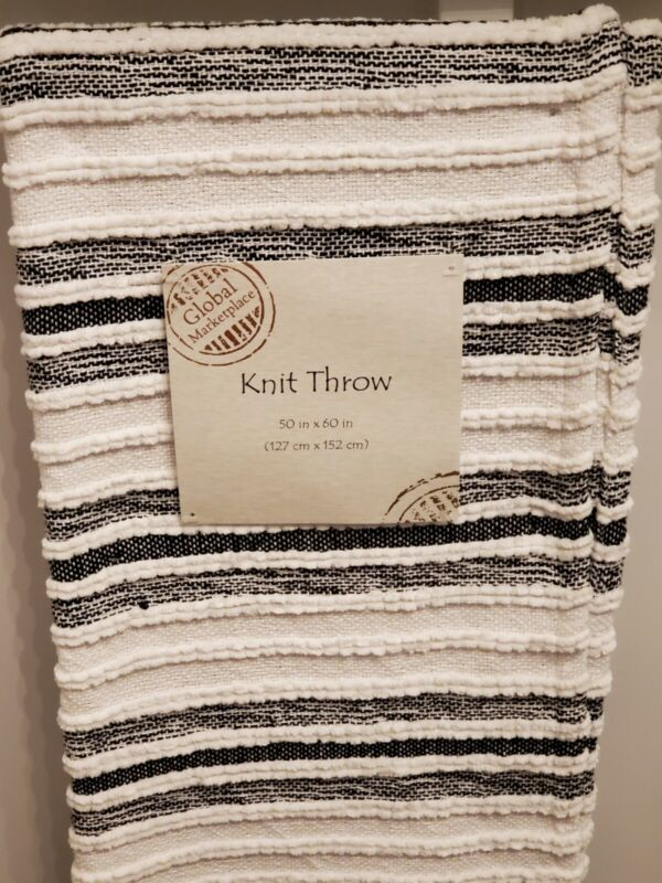 Modern Farmhouse Black White Textured Knit Throw Blanket Tassels Made In India