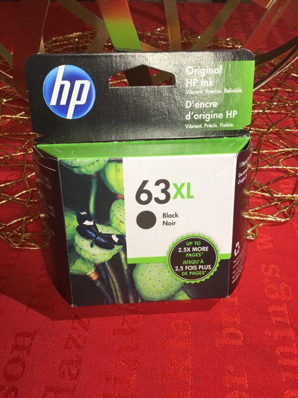 New HP 63XL GENUINE BLACK INK CARTRIDGE EXP 2021 In Box F6U64AN HP 63