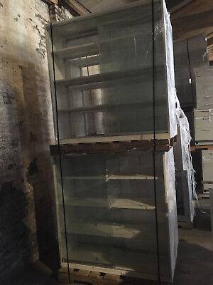 Used, Overhead / Reagent Glass Lab Cabinets with sliding glass doors and shelves 4'x4' for sale  Philadelphia