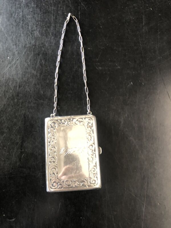 Antique Webster Sterling Silver Card Case Purse Repousse Flowers Dec. 72g