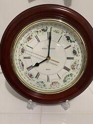 Royal Doulton BULOVA Wall Clock~ Beautiful ~Mahogany~ Flower of the Month