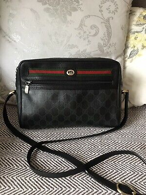Authentic Gucci Vintage Ophidia GG Monogram Black Vinyl Cross Body Bag Good-VGC