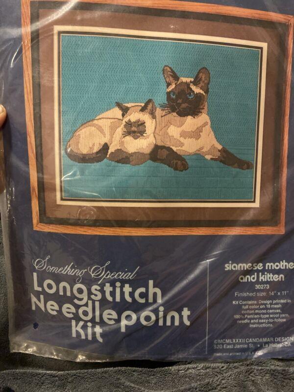 Vtg 1982 CANDAMAR Longstitch Needlepoint Kit SIAMESE CAT w/ KITTEN 30273 NOS NIP