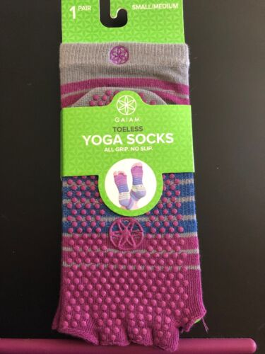 GAIAM  Yoga Pilates Socks Womens Stripe Toeless Grip OPen To