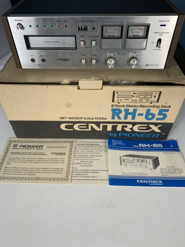 PIONEER CENTREX RH-65 8 TRACK STEREO RECORDING DECK WITH BOX AND MANUEL WORKS!