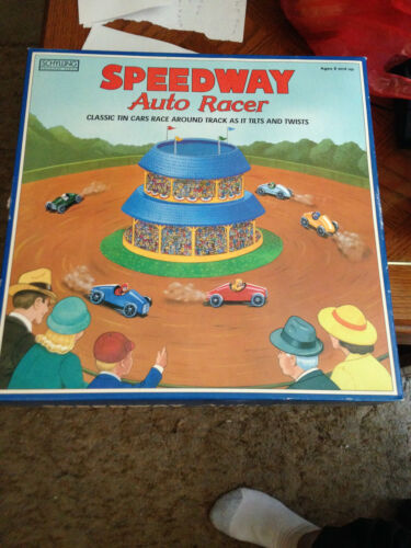 Schylling SPEEDWAY Auto Racer Tin Windup Race Track Original Box 2001