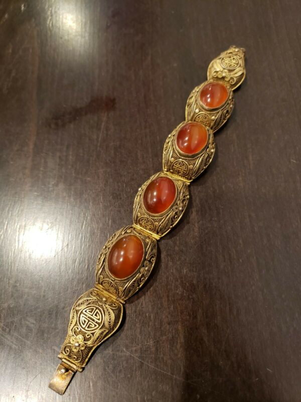 RARE VINTAGE CHINESE EXPORT STERLING SILVER Red Gate STONE FILIGREE BRACELET