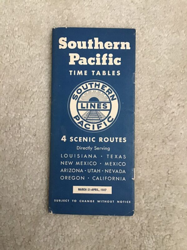 Southern Pacific Time Tables March/April 1937