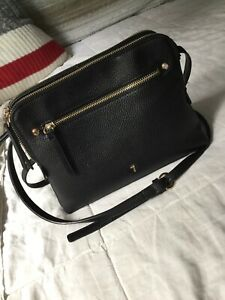 Black Leather Purse with Long Strap