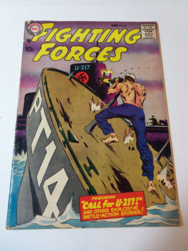 1958 OUR FIGHTING FORCES # 34 DC War Comic Book JOE KUBERT Cover