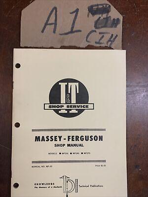 It Massey-ferguson Model Mf255 Mf265 Mf275 Manual No. Mf-35 Shop Manual