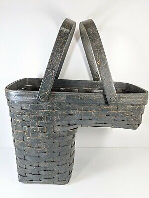 Workshops Of Gerald Henn Dark Aged Green Crackle Paint Large Stair Step Basket