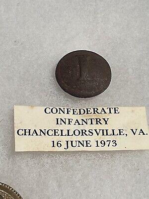 Dug Civil War block i infantry button w provenance