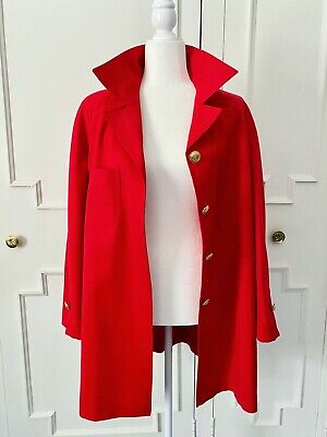 Vintage VALENTINO Miss V red wool long jacket coat,size 40 US 6,made in ITALY