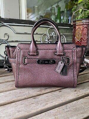 Authentic Coach Mini Swagger Crossbody Handbag Purse Pebbled Purple Rose