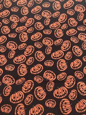 "1/2 yd Fabric 100% Cotton Halloween Pumpkins Jack for Face Masks (18""x42"")"