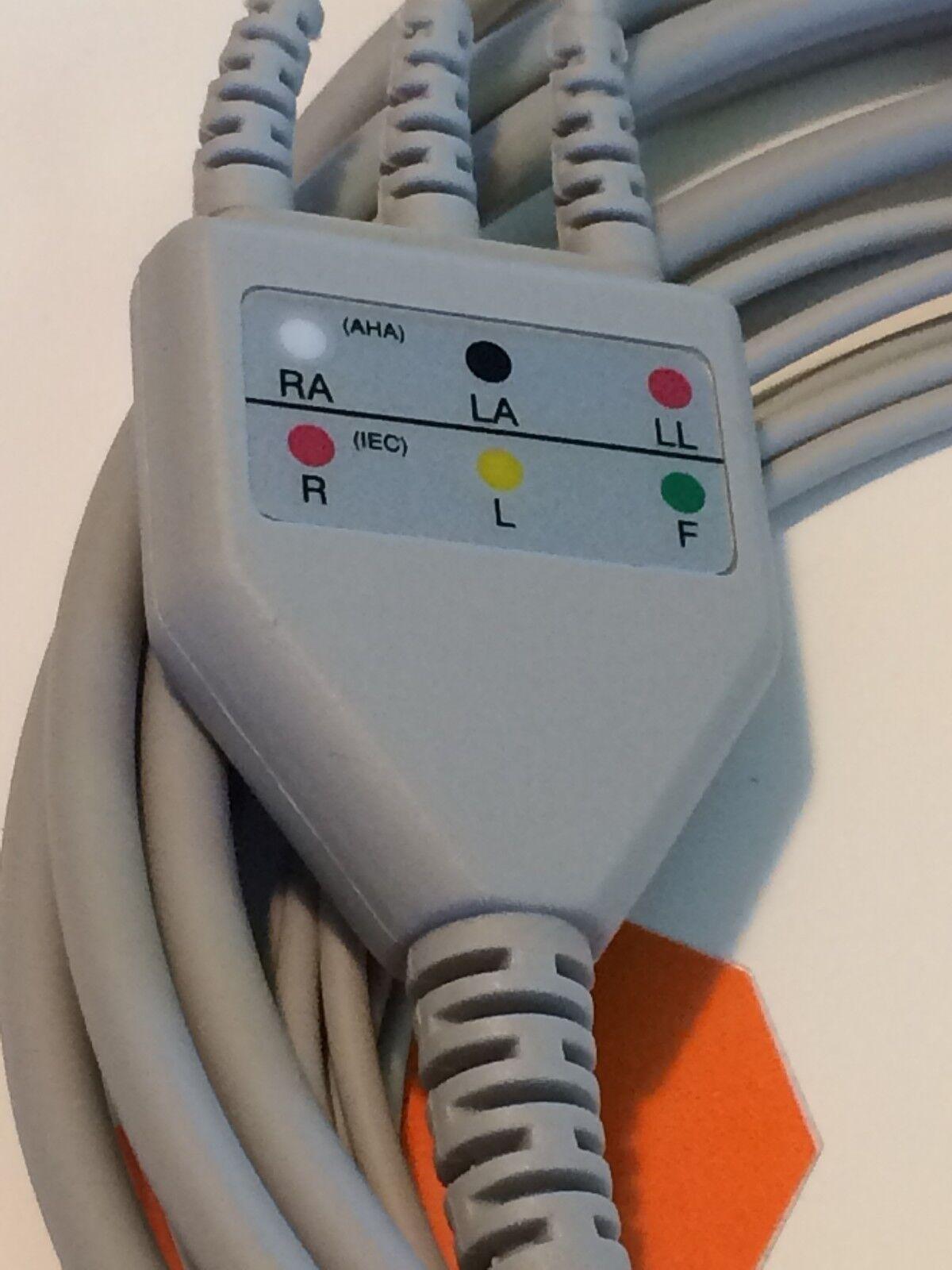 NEW EKG ECG 6PIN 3LEAD AHA CLIP CABLE, ZOLL E R M PD SERIES, GE DINAMAP CRITIKON MPS