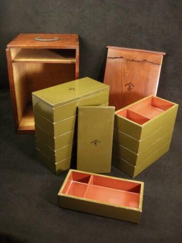ANTIQUE JAPANESE MEIJI 1907 TEN LIDDED LACQUER JUBAKO BENTO BOX W/ STORAGE BOX