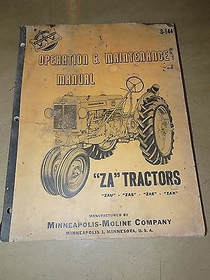 1952 53 54 Minneapolis-moline Za Zau Zas Zae Zan Tractor Opermaintenence Manual