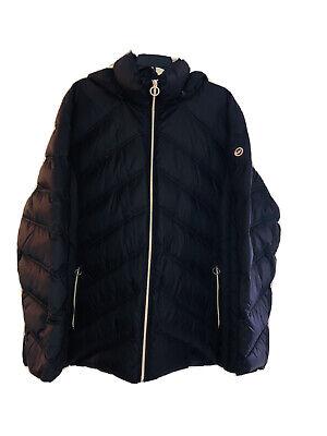 Michael Kors MK Black Puffer Hooded Jacket Coat Down Filled 3X 3XL XXXL New
