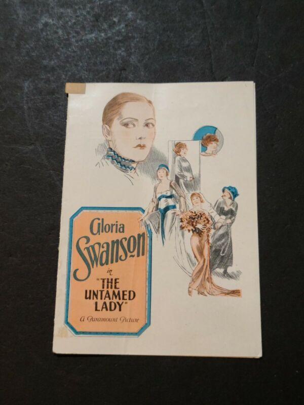 GLORIA SWANSON UNTAMED LADY ORIG PRESSBOOK HERALD 1926