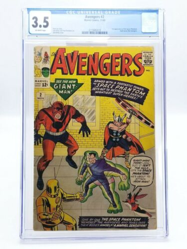 Avengers 2 CGC 3.5 Off-White Pages 1963 Iron Man Thor