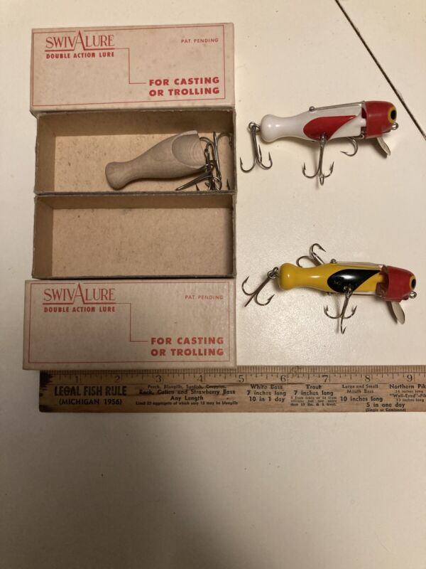 2 Vintage Swivalure Double Action Scarce Lures In Box Nice!