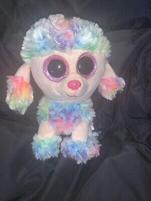 TY Beanie Boos Rainbow Poodle Puppy Dog Plush Stuffed Animal Glitter Big Eyes j9