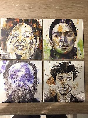 Four Fabulous Art Tiles Of Famous People Including Robin Williams
