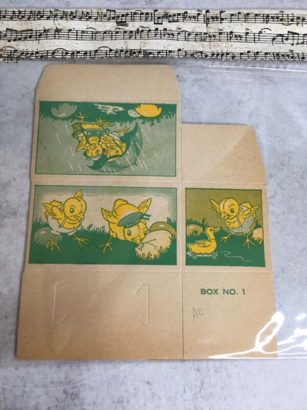 Vintage Easter egg Chicks Graphic Cardboard Candy Box Cooper Co Unused 1930/1940