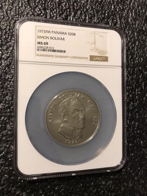 1973 Panama Simon Bolivar 20 Balboa Silver Coin NGC MS 69