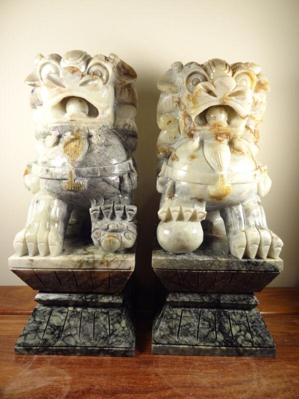 "Pair of Natural Jade Carving ""Foo Dog"" Statues w. Jade Stands"