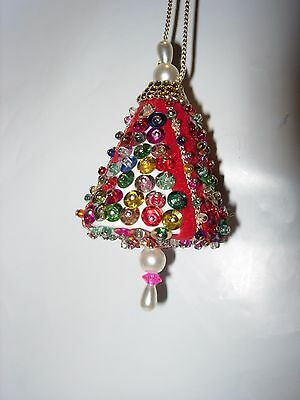 CHRISTMAS TREE ORNAMENT HOLIDAY DECOR SEQUIN GREEN RED JEWEL HANDMADE CRAFTS