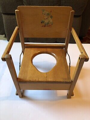Vintage Hedstrom Collapsible Wooden Potty Chair Baby Lamb